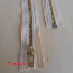 Kovový zip 40cm - smetanový